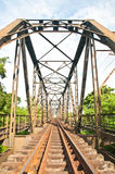 Railway bridge across the river. Stock Photo
