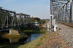 Railway bridge across the river in autumn. Royalty Free Stock Photos