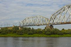 Railway bridge across the river Ros in Chernihiv. Ukraine.  stock photos
