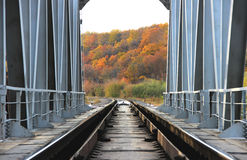 Railway bridge, autumn evening, autumn forest. Picture, which depicts the railroad, receding into the distance of the autumn forest Stock Image