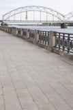 Railway Bridge and Banks of River Daugava Stock Images