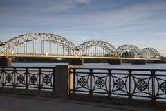 Railway Bridge and Banks of River Daugava, Riga Stock Photos