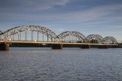 Railway Bridge and Banks of River Daugava, Riga Royalty Free Stock Image