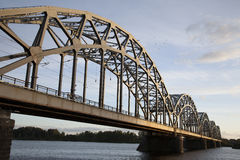 Railway Bridge and Banks of River Daugava, Riga Royalty Free Stock Images