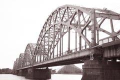 Railway Bridge and Banks of River Daugava, Riga Stock Photography