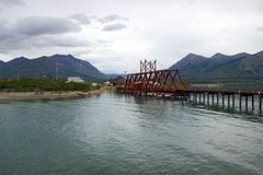 Railway bridge and Bennett Lake in Carcross, Yukon. Carcross (short for Caribou Crossing) is a small town in Canada's Yukon Territory. A stopping point during Royalty Free Stock Images