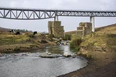 Railway Bridge Between Medgidia And Tulcea, Dobrogea, Romania Royalty Free Stock Photo