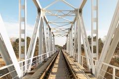 Railway bridge on the blue sky in spring. Railway bridge on the blue sky in spring Stock Images