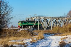 Railway bridge close-up in the daytime, winter season.  Royalty Free Stock Image