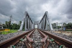 Railway and bridge crossings. Tram and railroad crossings without rail Royalty Free Stock Photography