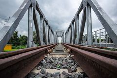 Railway and bridge crossings. Tram and railroad crossings without rail Royalty Free Stock Photo