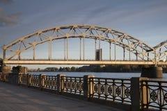 Railway Bridge and Embankment; River Daugava; Riga Royalty Free Stock Photo