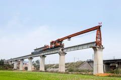 Railway bridge erection machine. Construction on a high-speed railway bridge Stock Photo