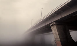 Railway bridge in the fog Stock Image