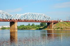 Railway bridge with freight train Royalty Free Stock Images