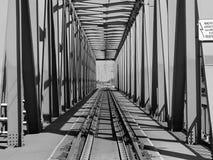 Railway bridge. Game of shadows on a railway bridge Royalty Free Stock Image