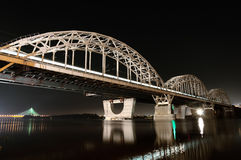 Railway Bridge, Kiev, Ukraine. Kiev Railway Bridge At Night, Long Exposure Royalty Free Stock Image