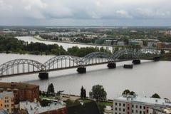 Railway bridge in Latvia. From the sky Stock Photo
