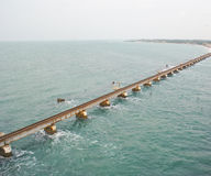 A railway bridge link on sea. Panoramic view of a sea-link serving as railway bridge on Indian ocean, between Indian Mainland and the island of Rameshwaram , in Stock Image