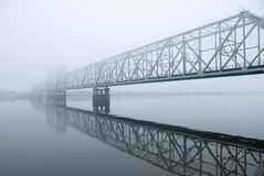 Railway bridge .matutinal mist Stock Photo
