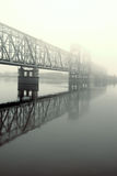 Railway bridge .matutinal mist Stock Photography