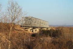 Railway bridge. With metal pillars stock images