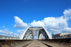 Railway Bridge in Moscow. Krasnoluzhsky (former Emperor Nicholas II) bridge in Moscow bore hard service in the 38th kilometer of the Moscow circular railway in Stock Photos