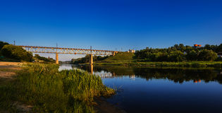 Railway bridge, Neman, Grodno Stock Images