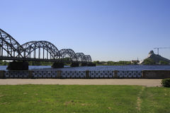 Railway Bridge and new national library building. Riga Stock Photography