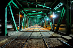 Railway bridge at night Stock Photo