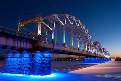 Railway bridge at night Stock Photography