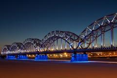 Railway bridge at night Royalty Free Stock Photography