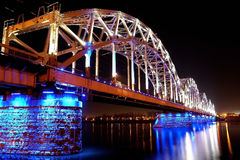 Railway bridge in night Royalty Free Stock Image