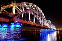 Railway bridge in night