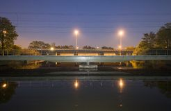 Railway bridge at night Royalty Free Stock Photography