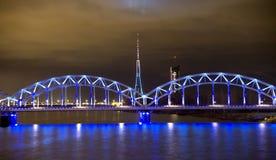 Railway bridge  at night in Riga Royalty Free Stock Photography