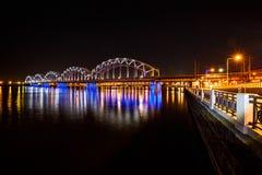 Railway bridge at night Royalty Free Stock Photo