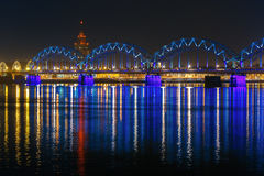 Railway Bridge at night, Riga, Latvia Royalty Free Stock Photography