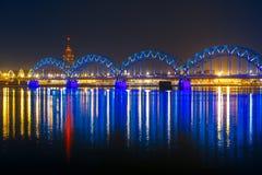 Railway Bridge at night, Riga, Latvia Stock Image