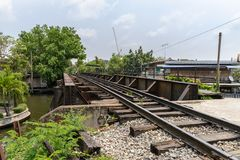 Railway bridge over the canal Royalty Free Stock Photography