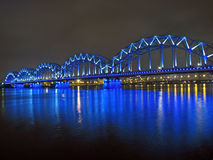 The Railway Bridge. Over Daugava river in Riga Stock Photos