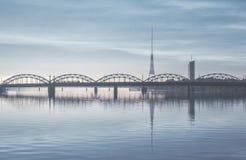 Railway bridge over the Daugava river Stock Photo