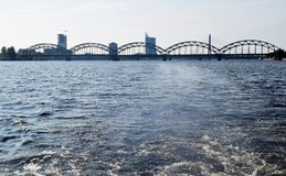 Railway bridge over the Daugava river, Riga, Latvia. royalty free stock image