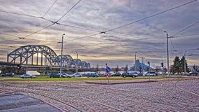 Railway bridge over Daugava river in Riga in Latvia at sunset Royalty Free Stock Photos