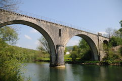 Railway Bridge Over Doubs River Royalty Free Stock Photo