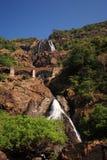 Railway bridge over Dudhsagar Falls Royalty Free Stock Photography