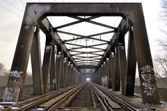 A railway bridge over the Elbe Royalty Free Stock Photography