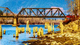 Railway Bridge over the Fraser River between Abbotsford and Mission in British Columbia, Canada. Railway Bridge over the Fraser River between the towns of royalty free stock photo