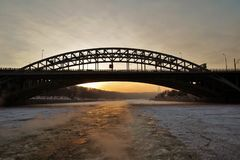 Railway bridge over the Moscow river at sundown Royalty Free Stock Images