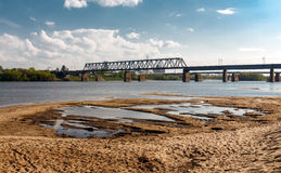 Railway bridge over the Oka river. Railway bridge over the river Oka, Kolomna, Russia Royalty Free Stock Photo
